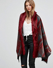 Jayley Check Faux Fur Trim Oversize Coat In Red