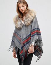 Jayley Stripe Light Grey Oversize Coat With Faux Fur Trim