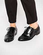 ASOS MAZZIE Leather Studded Flat Shoes