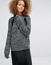 J.O.A Oversized Chunky Jumper In Space Yarn With Lace Up Detail
