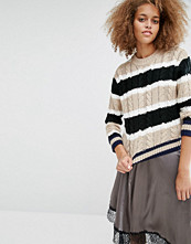 J.O.A Striped Cable Knit Jumper