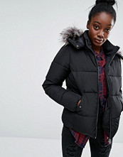 Only Short Real Down Padded Jacket with Faux Fur Hood