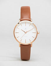 ASOS Large Face Brown Leather Rose Gold Watch