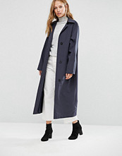 Cooper & Stollbrand Oversized Relaxed Fit Duster Coat In Navy