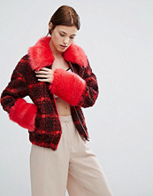 Urbancode Checked Bomber Jacket With Faux Fur Collar And Cuffs