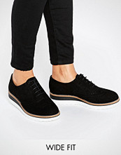 Dune Wide Fit Farlie Black Leather Chunky Brogues