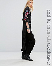 Glamorous Petite Long Sleeve Cold Shoulder Maxi Shirt Jacket With Sleeve Embroidery