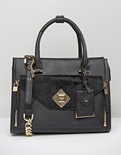 Dune Tote Bag With Faux Pony Front Pocket Detail