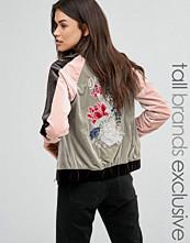Glamorous Tall Contrast Velvet Embroidered Bomber