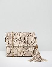 Faith Faux Snake Box Shoulder Bag with Tassel