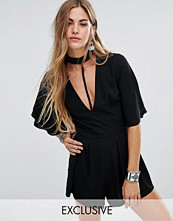 Young Bohemians Kimono Sleeve Playsuit With Choker Neck Detail