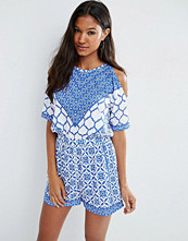 ASOS Cold Shoulder China Blue Geo Playsuit