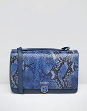Modalu Leather Shoulder Bag In Faux Snake Mix
