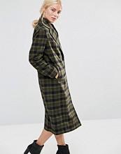 Helene Berman Double Breasted Coat in Khaki Green and Black Check