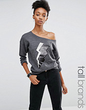 Noisy May Tall One Shoulder Knitted Sweat With Sequin Lightning Motif
