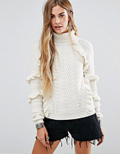 Glamorous Cable Knit High Neck Jumper With Ruffle Detail