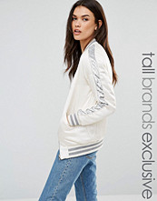Glamorous Tall Quilted Sateen Relaxed Bomber With Sequin Stripe
