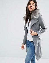 Brave Soul Longline Belted Coat With Faux Fur Trim