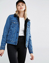 Dr.Denim Faux Shearling Collar Denim Jacket