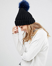 My Accessories Beanie with Contrast Navy Pom in Faux Fur