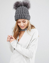 My Accessories Beanie with Double Faux Fur Pom