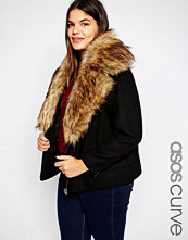 ASOS Curve Jacket In Wool With Oversized Faux Fur Collar