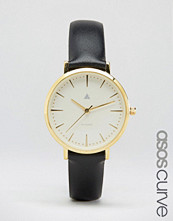 ASOS Curve Clean Dial Black Leather Watch