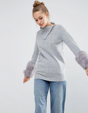 ASOS Jumper with Fur Sleeve