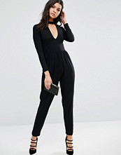 ASOS Halloween Plunge Neck Jersey Jumpsuit with Long Sleeve