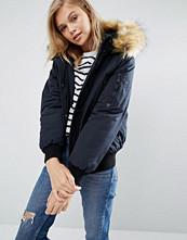 Pimkie Padded Jacket With Faux Fur Trim