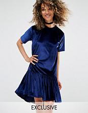 Milk It Vintage Oversized T-Shirt Dress With Frill Hem In Velvet