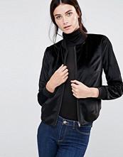 Helene Berman Velvety Black Bomber Jacket