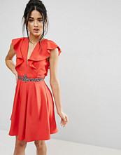 Little Mistress Mini Skater Dress With Plunge And Flutter Sleeve