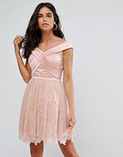 Forever Unique Bardot Cross Over Mini Lace Skater Dress