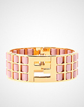 Fendi Logo Cuff With Leather Accented Perforated Inlay