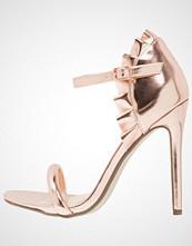 Missguided RUFFLE BACK STRAPPY Sandaler med høye hæler rose gold