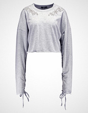 Missguided ROUCHED SLEEVE EMBELLISHED  Genser grey