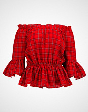 New Look WAISTED CHECK FLARE SLEEVE BARDOT Bluser red