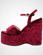 Lost Ink BIRDY FLOCKED WEDGE Sandaler med høye hæler burgundy