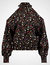 New Look DOLORES FLORAL SHIRRED SHELL Bluser black