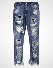 Missguided THRASHED Straight leg jeans blue