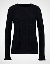 Dorothy Perkins RUFFLE FRONT CABLE Jumper navy
