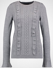 Dorothy Perkins RUFFLE FRONT CABLE Jumper grey