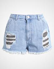Missguided LONDUNN CHAINMAIL Denim shorts blue