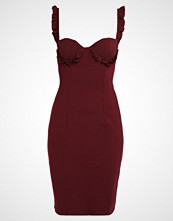 Lost Ink FRILL BUST CUP BODYCON Hverdagskjole oxblood