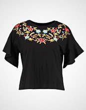 New Look EMBROIDERY FRILL SLEEVE Tshirts med print black