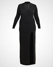 Missguided Plus CHOKER PLUNGE SHIMMER Fotsid kjole black/gold