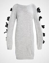 Lost Ink SLASH NECK EYELET BOW SLEEVE  Strikket kjole grey marl