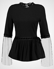Lost Ink CHIFFON AND RIBBON SLEEVE TOP Topper langermet black