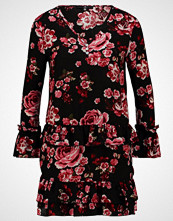 Missguided Petite FLORAL BUTTON UP FRILL TRIM DRESS  Sommerkjole black/red